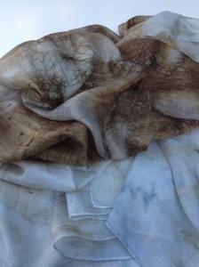 10 ecoprint walnut  indigo dye