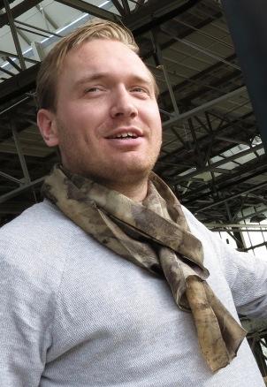 ecoprint brown variety sjaal man