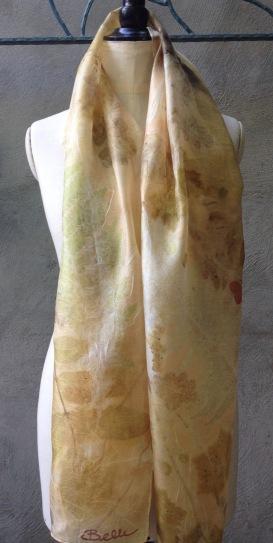 zachte zijden ecoprint sjaal