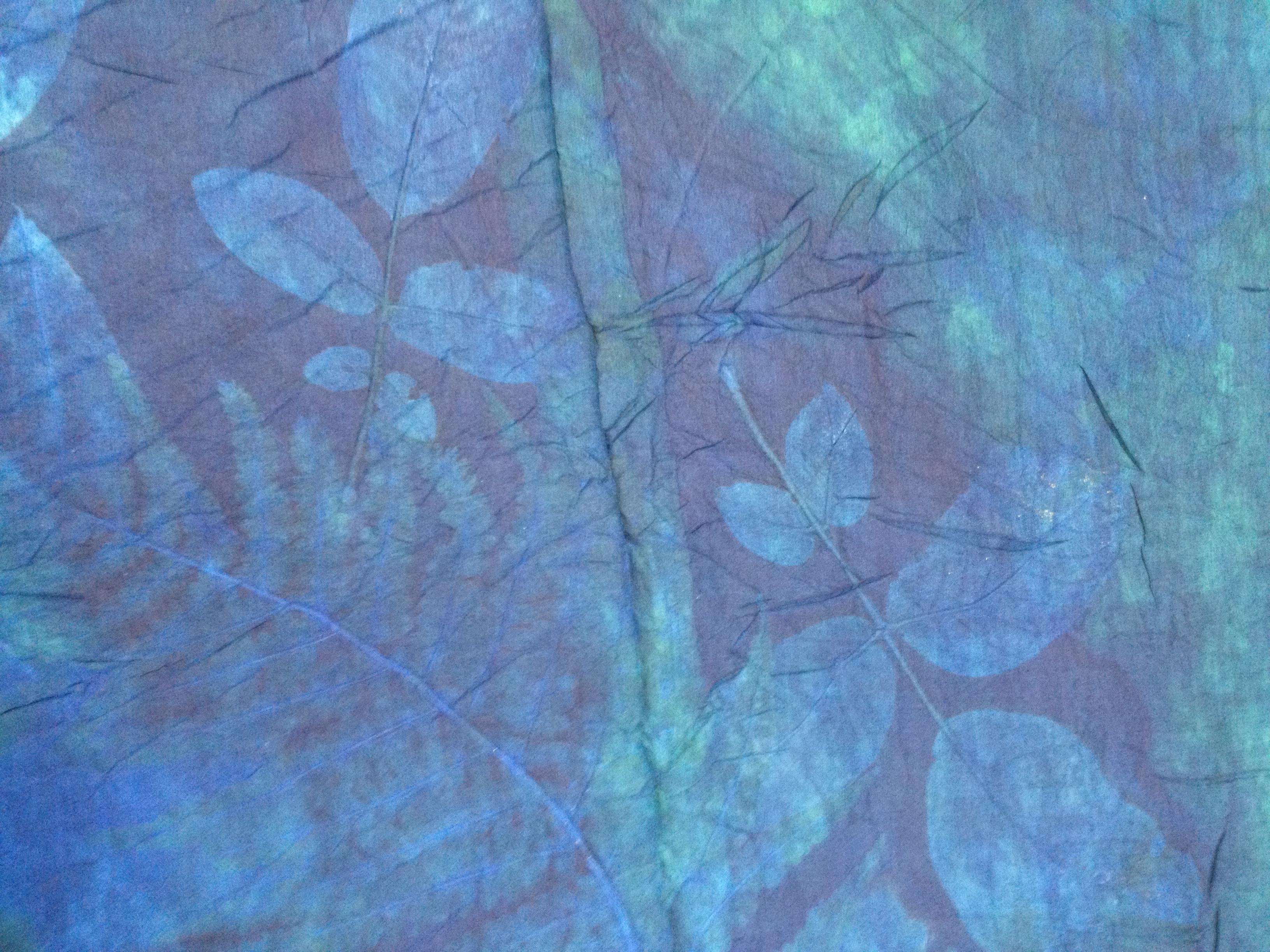 blauwe bladerenafdruk indigo