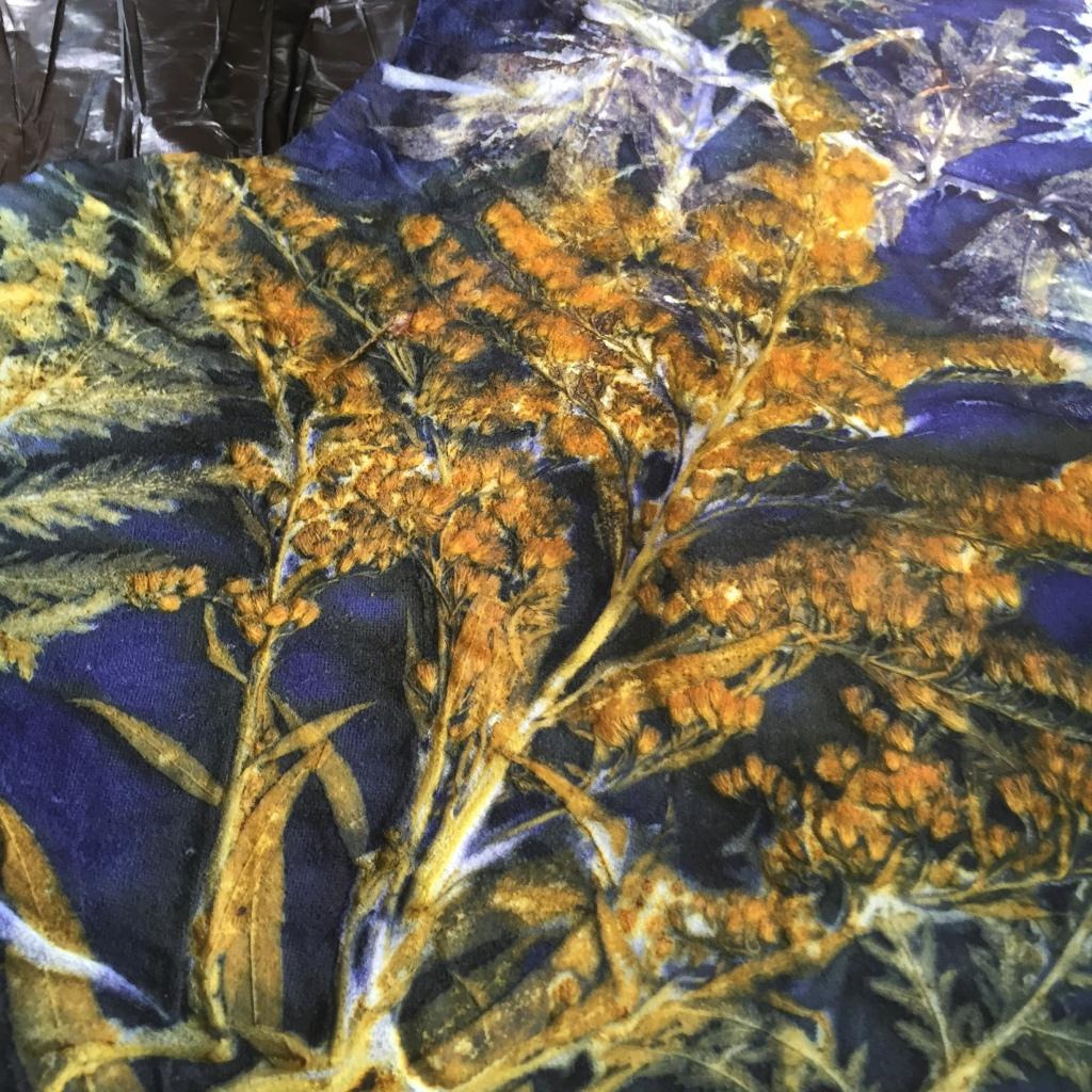 Ecoprinten leer blauw